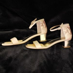 Anne Taylor Snake Pattern Block Heel Sandals
